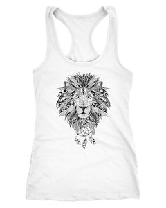 Damen Tank-Top Zentangle Löwe Lion Atzekenmuster Boho Bohamian Atzec Federn Traumfänger Neverless®