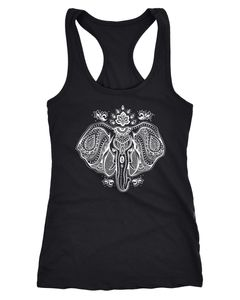 Damen Tank-Top Zentangle Elefant Boho Bohamian Atzec Elephant Neverless®