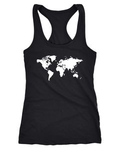 Damen Tank Top Weltkarte World Map Racerback Tanktop Neverless®