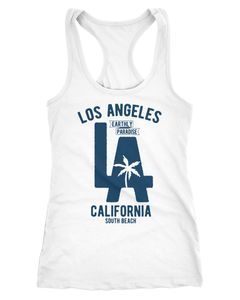 Damen Tank Top Los Angeles California LA Palme Racerback Tanktop Neverless®