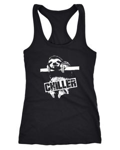 Damen Tanktop Faultier Born Chiller Sloth Racerback Tank Top Trägershirt Moonworks®