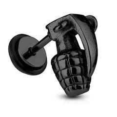 Fake Plug Hand-Granate Fakeplug Ohr Piercing Ohrstecker Chirurgenstahl