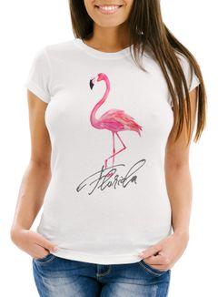 Cooles Damen T-Shirt Flamingo Seepferdchen Watercolor Slim Fit Neverless®