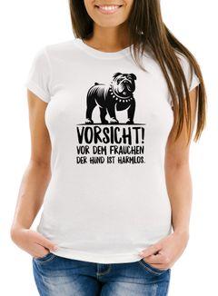 Damen T-Shirt Vorsicht vor dem Frauchen der Hund ist harmlos Slim Fit Moonworks®