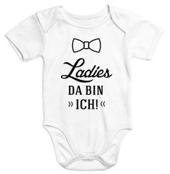 lustiger Baby Body mit Aufdruck Ladies da bin ich Bio-Baumwolle kurzarm Babybody Moonworks®