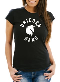 Unicorn Gang Damen T-Shirt Einhorn Slim Fit Moonworks®