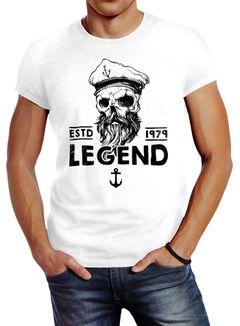 Herren T-Shirt Skull Captain Legend Totenkopf Bart Kapitän Slim Fit Neverless®