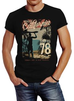 Herren T-Shirt California Surfing Slim Fit Neverless®