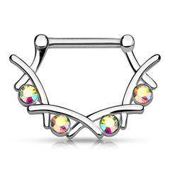 Brustwarzen Piercing mit Zirkonia Kristallen Nippelpiercing Brustpiercing Strass Nipple Barbell Autiga®