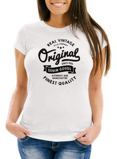 cooles Damen T-Shirt Original Denim Goods Vintage Druck Original Slim Fit Neverless®