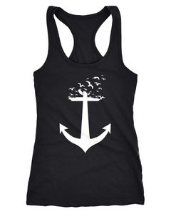 Damen Tank-Top Anker Vögel Anchor Birds Racerback Neverless®