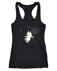 Damen Tanktop Einhorn mit Pusteblume Unicorn with Dandelion Racerback Moonworks®