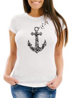 Damen T-Shirt Vogel Anker Anchor Birds Slim Fit Neverless®