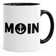 Kaffee-Tasse Moin mit Anker Frühstückstasse mit farbigen Henkel und Innenfarbe MoonWorks®
