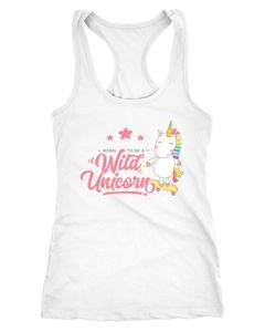 Damen Tanktop Einhorn auf Skateboard Born to be a wild Unicorn Racerback Moonworks®