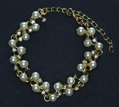 Perlenkette Armkette Armband Damen Strass Perlen