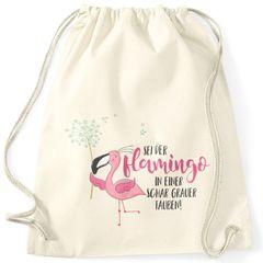 Turnbeutel sei der Flamingo in einer Schar grauer Tauben Spruch Flamingo Pusteblume Moonworks®