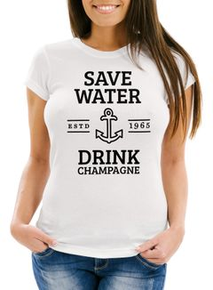 Damen T-Shirt Save water drink Champagne Slim Fit Moonworks®