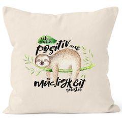Kissenbezug Faultier Faultier Ich wurde positiv auf Müdigkeit getestet Sloth Kissenhülle Dekokissen 40x40  Baumwolle MoonWorks®