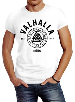 Herren T-Shirt Valhalla Runen Vikings Wikinger Slim Fit Neverless®