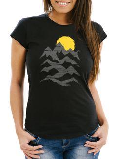 Wandern Damen T-Shirt Berge Sonnenaufgang Moonworks®