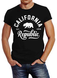 Stylishes Herren T-Shirt California Republic Slim Fit Neverless®