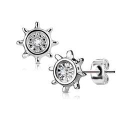 1 Paar Damen Ohrstecker Ohrringe Edelstahl Steuerrad Zirkonia Kristall Autiga®