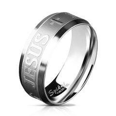 Edelstahl Ring Kreuz Jesus Herren Damen Bandring gebürstet Cross Autiga®