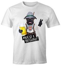 Oktoberfest Herren T-Shirt mogst a busserl? Bayrisch Bayern Hund Mops Mass Bier Krug Fun-Shirt Moonworks®