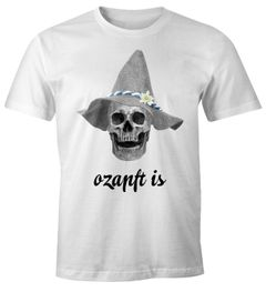 Oktoberfest T-Shirt Herren ozapft is Totenkopf Filzhut Bayrisch Bayern Skull Fun-Shirt Volksfest Moonworks®