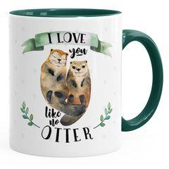 Kaffee-Tasse Otter Pärchen I love you like no otter Geschenk Liebe Spruch Kaffeetasse Teetasse Keramiktasse MoonWorks®