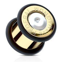 Flesh Tunnel Plug Edelstahl Ohr Piercing Fake Patrone Kugel Ohrstecker Munition