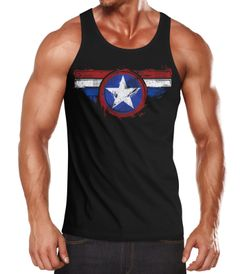 Herren Tank-Top Amerika Flagge Stern Roger Captain Muskelshirt Muscle Shirt Neverless®