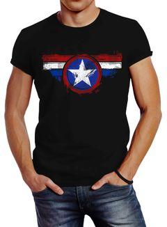Herren T-Shirt Amerika Flagge Stern Roger Captain Slim Fit Neverless®