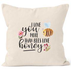 Kissenbezug I love you more than bees love honey Ich liebe dich mehr als die Biene den Honig 40x40 Baumwolle MoonWorks®
