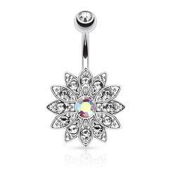 Bauchnabelpiercing Blume Blüte Kristall Chirurgenstahl 14 kt Gold Bauchnabel Piercing