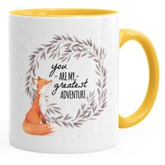 Kaffeetasse You are my greates adventure Fuchs Fox Liebe MoonWorks® Geschenk-Tasse Innenfarbe