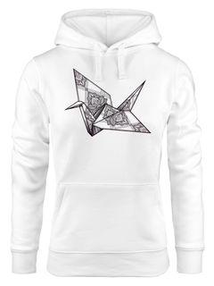 Kapuzen-Pullover Damen Origami Kranich Crane Vogel Bird Ornamente Boho Triangle Polygon Paisley  Hoodie Moonworks®