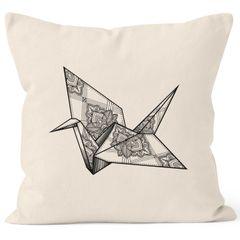 Kissenbezug Origami Kranich Crane Vogel Bird Ornamente Boho Polygon Paisley Kissen-Hülle Deko-Kissen 40x40 Baumwolle Autiga®