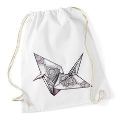 Turnbeutel Origami Kranich Crane Vogel Bird Ornamente Boho Triangle Polygon Paisley Autiga®
