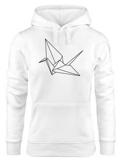 Kapuzenpullover Damen Origami Kranich Crane Vogel Bird  Hoodie Moonworks®