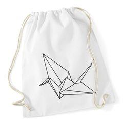 Turnbeutel Origami Kranich Crane Vogel Bird  Hipster Beutel Tasche Jutebeutel Gymsac Stringbag Drawstring Autiga®