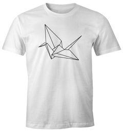 Herren T-Shirt Origami Kranich Crane Vogel Bird Geometrisch Moonworks®