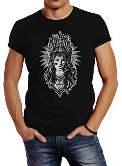 Ausgefallenes Herren T-Shirt Indianer Girl Slim Fit Neverless®