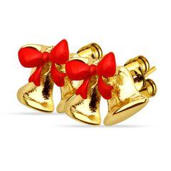 Weihnachts Ohrstecker Ohrringe Weihnachten Glocke Schleife Jingle Bell Christmas