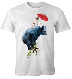 Herren T-Shirt Tiermotiv Bär auf Rad Fun-Shirt Moonworks®