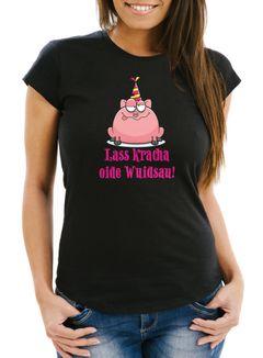 Damen T-Shirt Geburtstag Schwein Spruch Lass kracha oide Wuidsau Fun-Shirt Geschenk Moonworks®