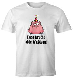 Herren T-Shirt Geburtstag Schwein Spruch Lass kracha oide Wuidsau Fun-Shirt Geschenk Moonworks®