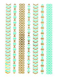 Flash Tattoo Metallic Temporary Einmal-Tattoo Henna Klebe Gold Armband Kette Boho grün