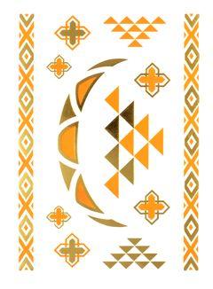 Flash Tattoo Metallic Temporary Einmal Tattoo Klebe Gold Armband Kette Boho Orange Henna